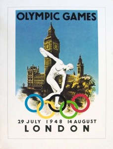 Big Ben is featured on this lithograph copy of a poster for the London Olympics, held in 1948.