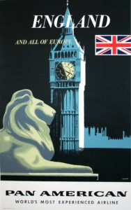 A vintage travel poster for Pan American airlines, circa 1950, also features Big Ben.