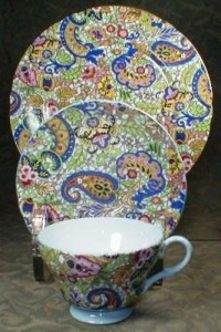 A Shelley trio in the very colorful and ornate Paisley pattern on the Henley shape.