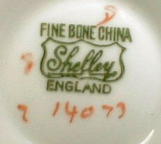 "The pieces are marked ""Shelley"" and ""Fine Bone China, England,"" with pattern and 14073."