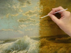 A painting under restoration.
