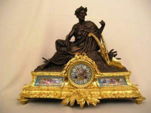 Large Antique Figurative Bronze Clock Sevres Porcelain, circa 1870.
