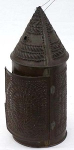 An example of a late 18th- or early 19th-century pierced-tin lantern.
