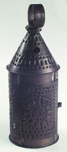 "An example of a pierced ""Paul Revere"" lantern. This one is made of copper."