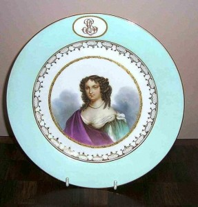 This Sevres factory portrait plate of a young lady is beautifully hand-painted in intricate detail, was made in 1869.