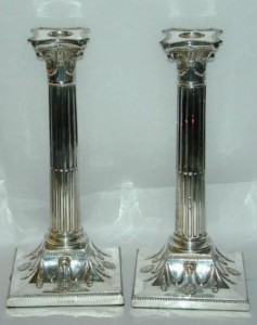 Sheffield plate Corinthian column candlesticks, made by Hawksworth & Eyre, Sheffield, England, circa 1870's. This is an example of electroplate.