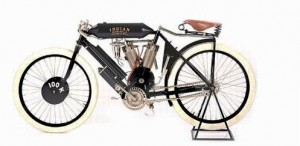 An example of an early Indian motorcycle. With a pedigree as a fine racing machine, Indian sales skyrocketed in the first two decades of the 20th century.