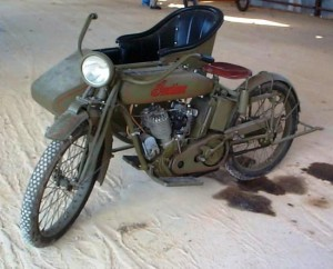 The Pioneer Flight Museum has a 1917 Indian motorcycle, VIN 73J740, with a sidecar. It was restored in the mid-1990s by Bill Wiseman of LaVernia, Texas, and is painted in a period military scheme. This bike is in running condition, and in fact is fast enough to be scary!
