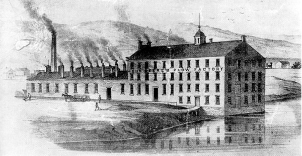 The John Deere plow factory in Moline, Ill. circa 1850.