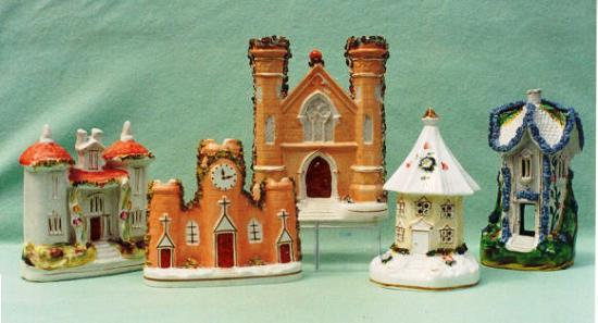 As early as the 1760s, several English companies were making cottages in both porcelain and pottery, to be used as pastille burners. (A pastille is a small pellet of an aromatic paste, used either to fumigate or deodorize.) The small cone of something like charcoal or gum arabic was saturated with the fragrance to be used, placed on a base, lit, and covered with the cottage. The perfume rose up the chimney and helped rid the room of the many odors always present in homes of the day.