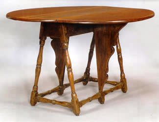 The William & Mary figured maple butterfly table with block vase and ring turned legs that had been so elusive.