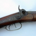 A Kentucky style American rifle by Blunt & Syms of New York. It features a .44 caliber 38-inch octagonal barrel and a back action lock with a double set trigger.