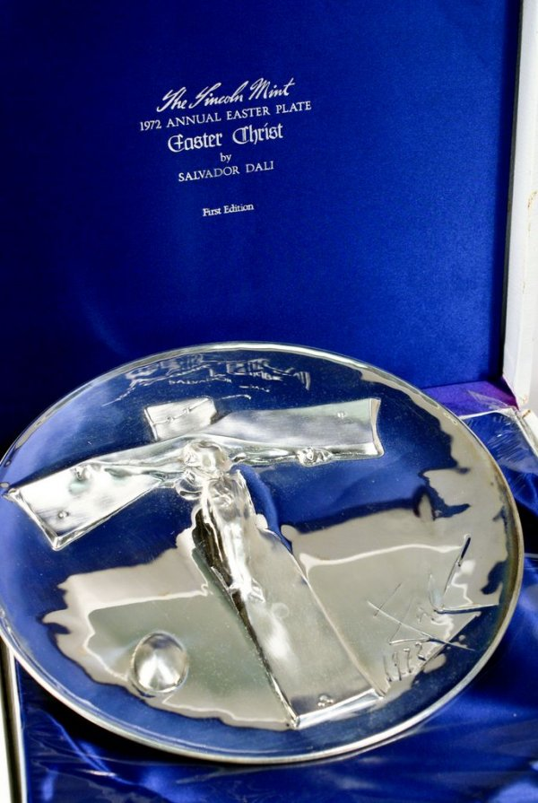 "An example of the 1972 Lincoln Mint's Salvador Dali sterling silver Easter plate entitled ""Easter Christ."""
