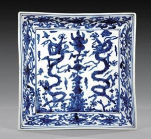 A Jiajing period Ming Dynasty square dish.