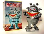 A tin lithographed and plastic wind-up robot in original box, he walks, his upper body rotates a full 360 degrees, as he destroys Tokyo. This is an example of wind-up toys from the mid to late 1960s. Made by MTU, Korea.