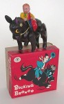 "This celluloid cowboy and horse, with its original box, is marked ""Trade Mark Modern Toys"" and ""Made in Japan."" Circa 1940."