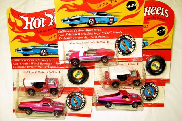 Got Pink? These pink painted Hot Wheels are rare simply because of the color. Most boys in the 1960 and '70s wouldn't be caught dead playing with a pink car (unless they were blowing it up), so Mattel made fewer pink cars.