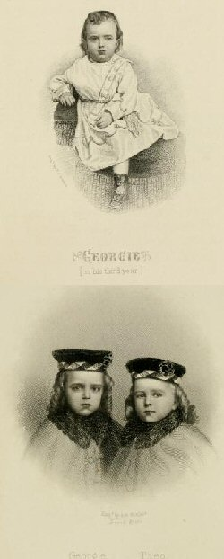"A drawing of Georgie Cuyler (top) and of Georgie and his brother, Theo (bottom, left), are from my copy of the 1868 edition of ""The Empty Crib."""