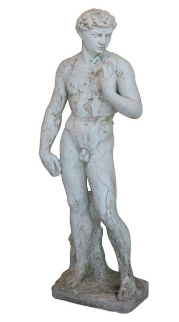 Winter weather can play havoc on your outdoor statuary. This 19th century plaster cast of a copy of the statue of David is showing sings of weathering. Now, before the leaves start falling, is the time to prepare your outdoor art for the winter.