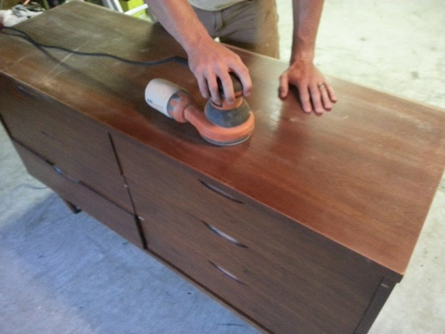 """Many items you will find carry stain """"rings"""" on the surface tops. This is often the result of coffee cups or planters. All is not lost, though, if you are a little handy with a palm sander!"""