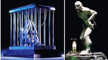 Randy Bowen's smoking alien & fluekman statues
