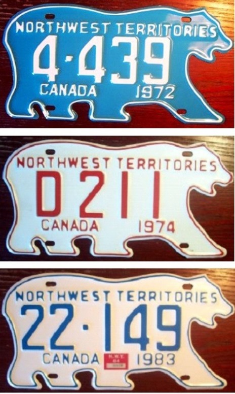 The Northwest Territories plates changed colors over the years.