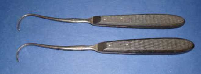 Tenaculum was used to carefully grasp the arteries during amputations. They were also used to move other tissue.