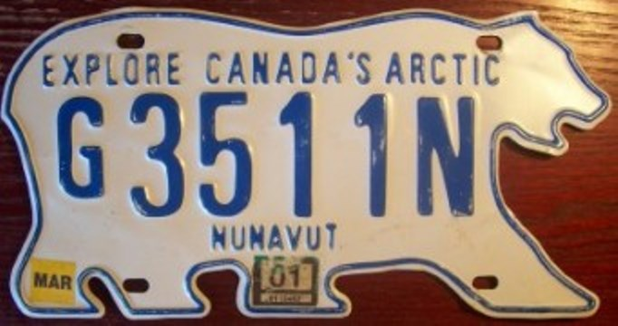 "In 1999, the eastern three-fifths of the Northwest Territories separated and became a new territory called ""Nunavut."" After a short argument, it was decided and that both would keep the polar bear design for the license plates."