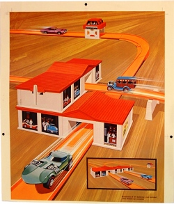 Otto Kuhni's original art for Hot Wheels Super Charger accessory (Image courtesy of Bruce Pascal)