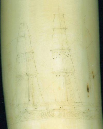 Image #2 - Re-Inked antique scrimshawed whale tooth