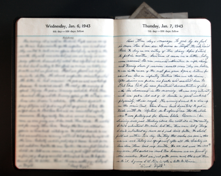 January 7, 1943 Diary page  (click to enlarge)