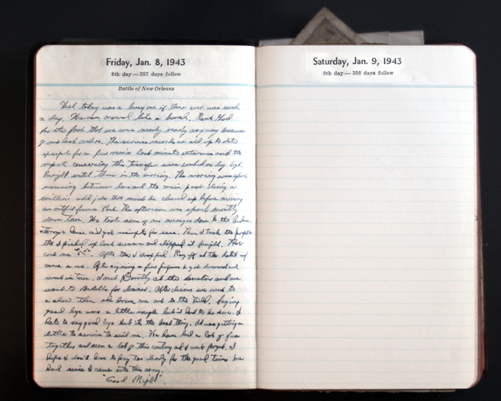 January 8, 1943 Diary entry  (click to enlarge)