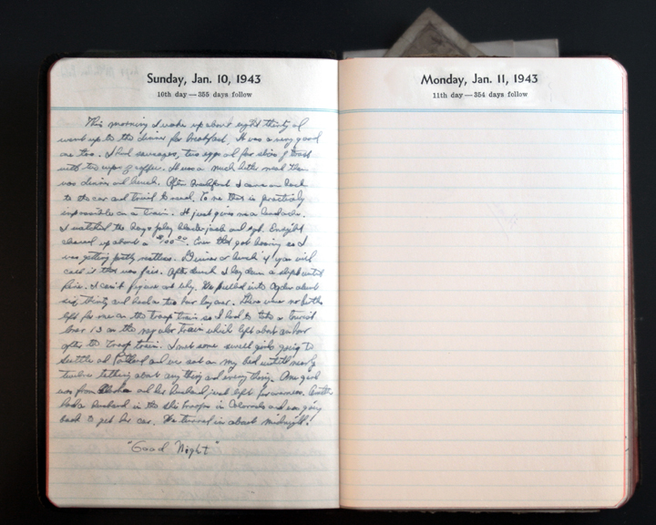 January 10, 1943 Diary Page  (click to enlarge)