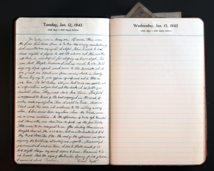 January 12, 1943 Diary Page  (click to enlarge)