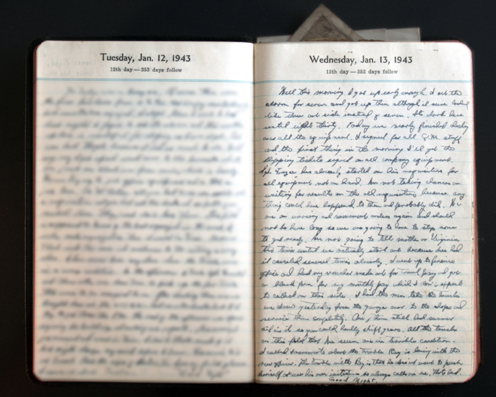 January 13, 1943 Diary Page  (click to enlarge)