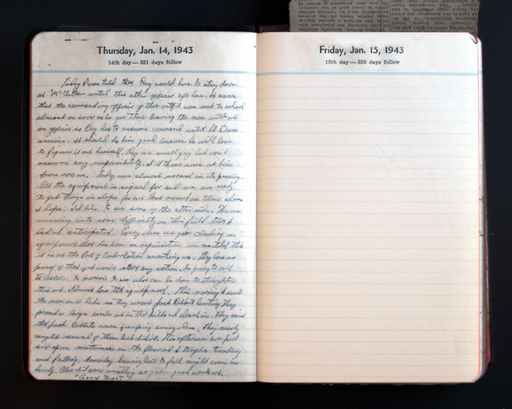 January 14, 1943 Diary Page  (click to enlarge)