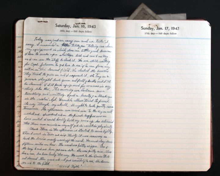 January 16, 1943 Diary Page (click to enlarge)