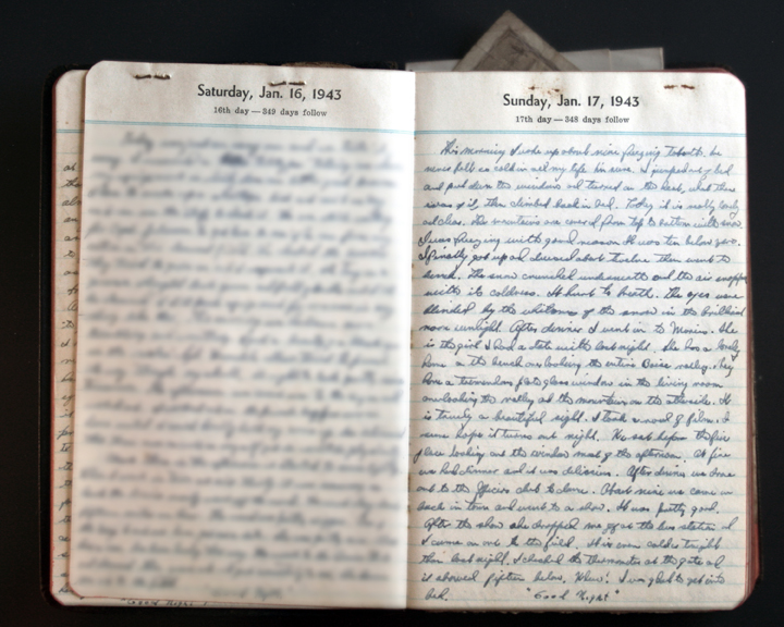 January 17, 1943 Diary Page  (click to enlarge)