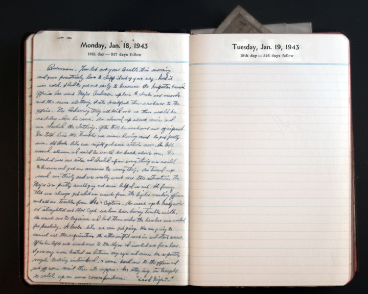 January 18, 1943  Diary Page  (click to enlarge)