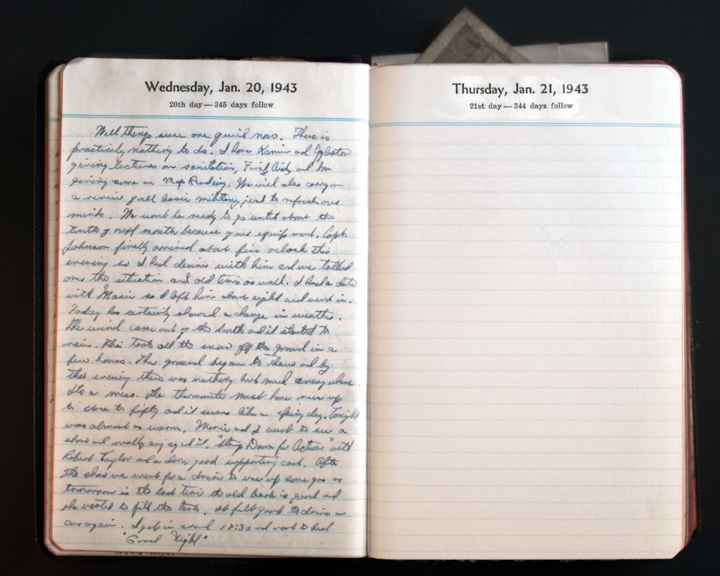 January 20, 1943 Diary Page  (click to enlarge)