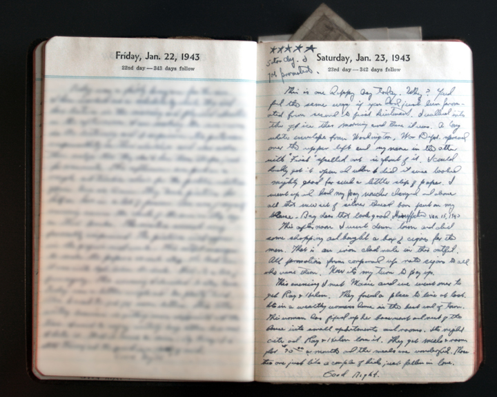 January 23, 1943 Diary page  (click to enlarge)