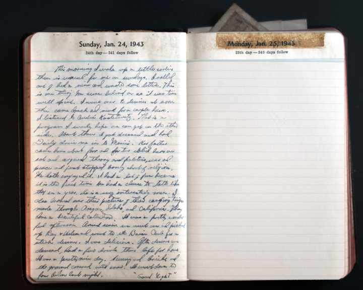 January 24, 1943 Diary Page  (click to enlarge)