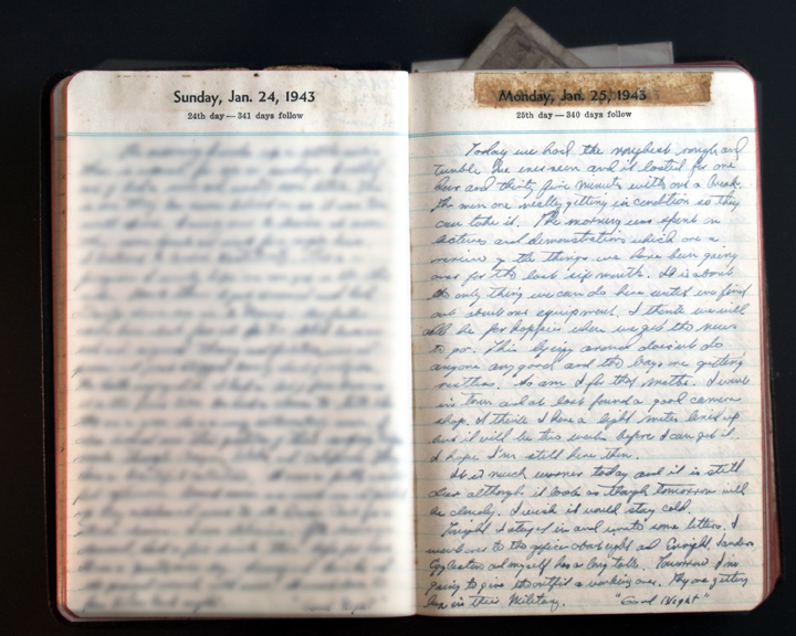 January 25, 1943 Diary Page  (click to enlarge)