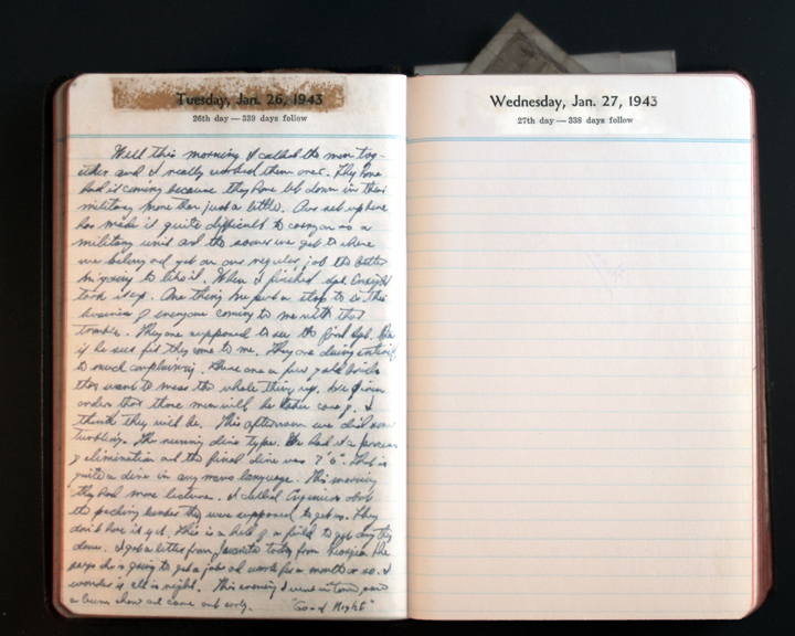 January 26, 1943 Diary Page  (click to enlarge)