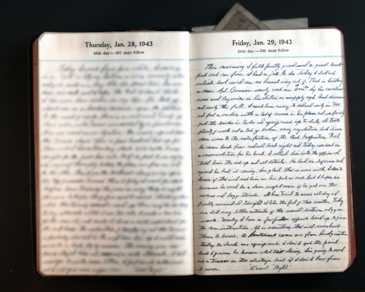 January 29, 1943 Diary Page  (click to enlarge)