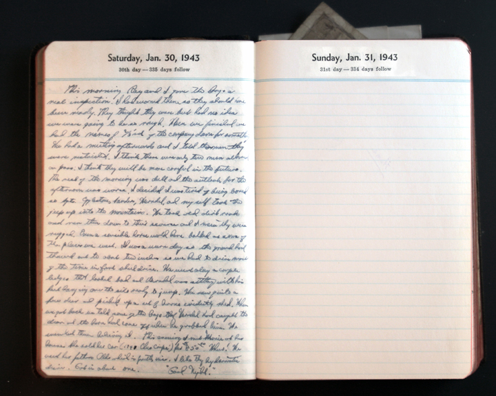 January 30, 1943 Diary Page  (click to enlarge)