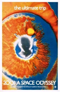 """The Eye,"""" created for the 1969 launch of the 70mm version of """"2001"""" features the psychedelic Eye, used primarily for """"wild"""" posting on building sites and bulletin boards."""