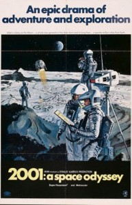 "The Style B poster from ""2001: A Space Odyssey"" shows men working on the Moon."