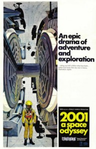 """The rarest of """"2001: A Space Odyssey"""" posters is the Style C, depicting the Centrifuge. It was designed specifically for the Cinerama version and was sent only to theaters equipped with the wide screen technology."""