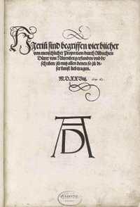"""Title page of Durer's """"Vier Bücher von menschlicher"""""""